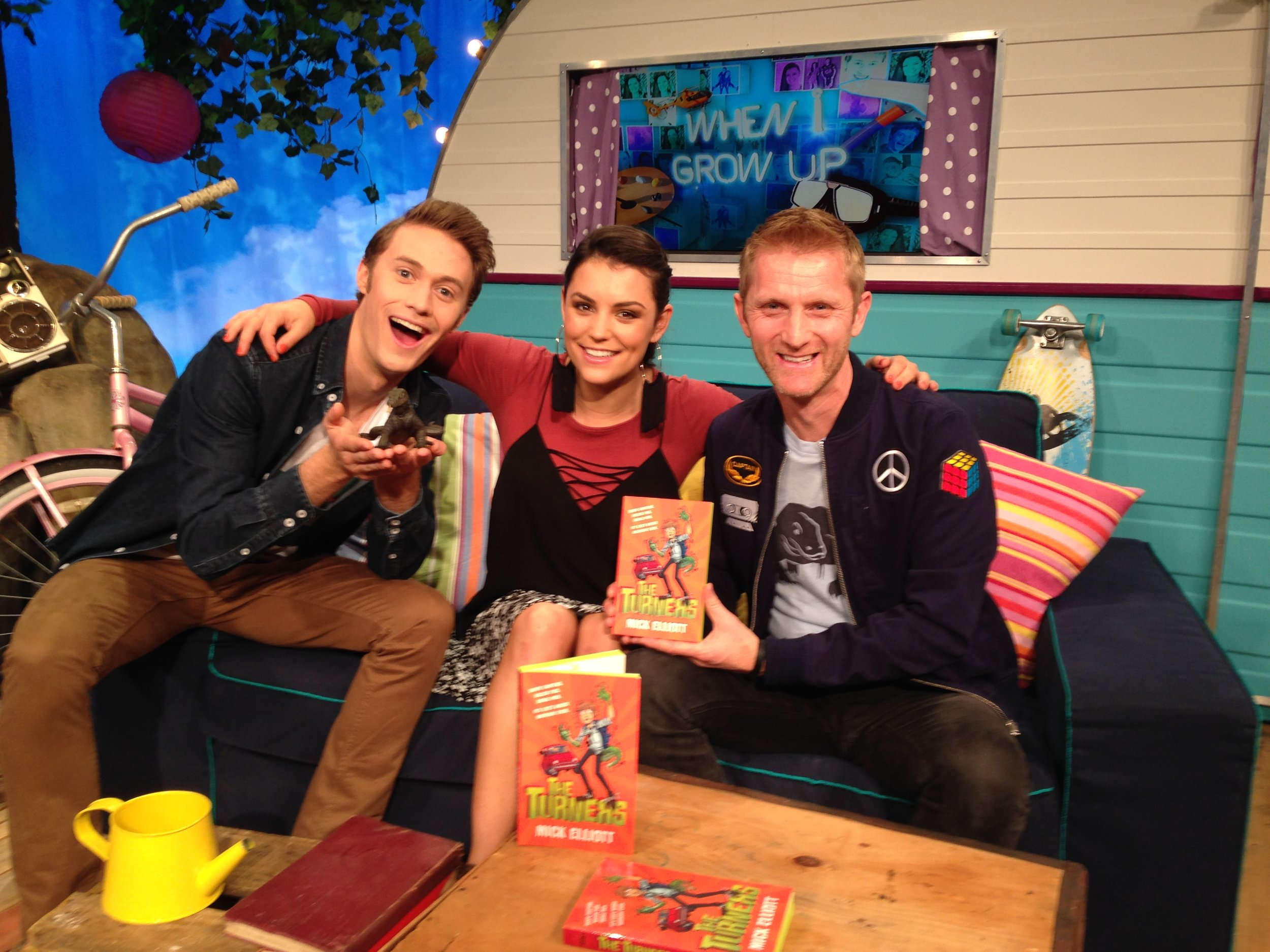 On set talking about writing tips for kids with Disney's Adam and Ash.