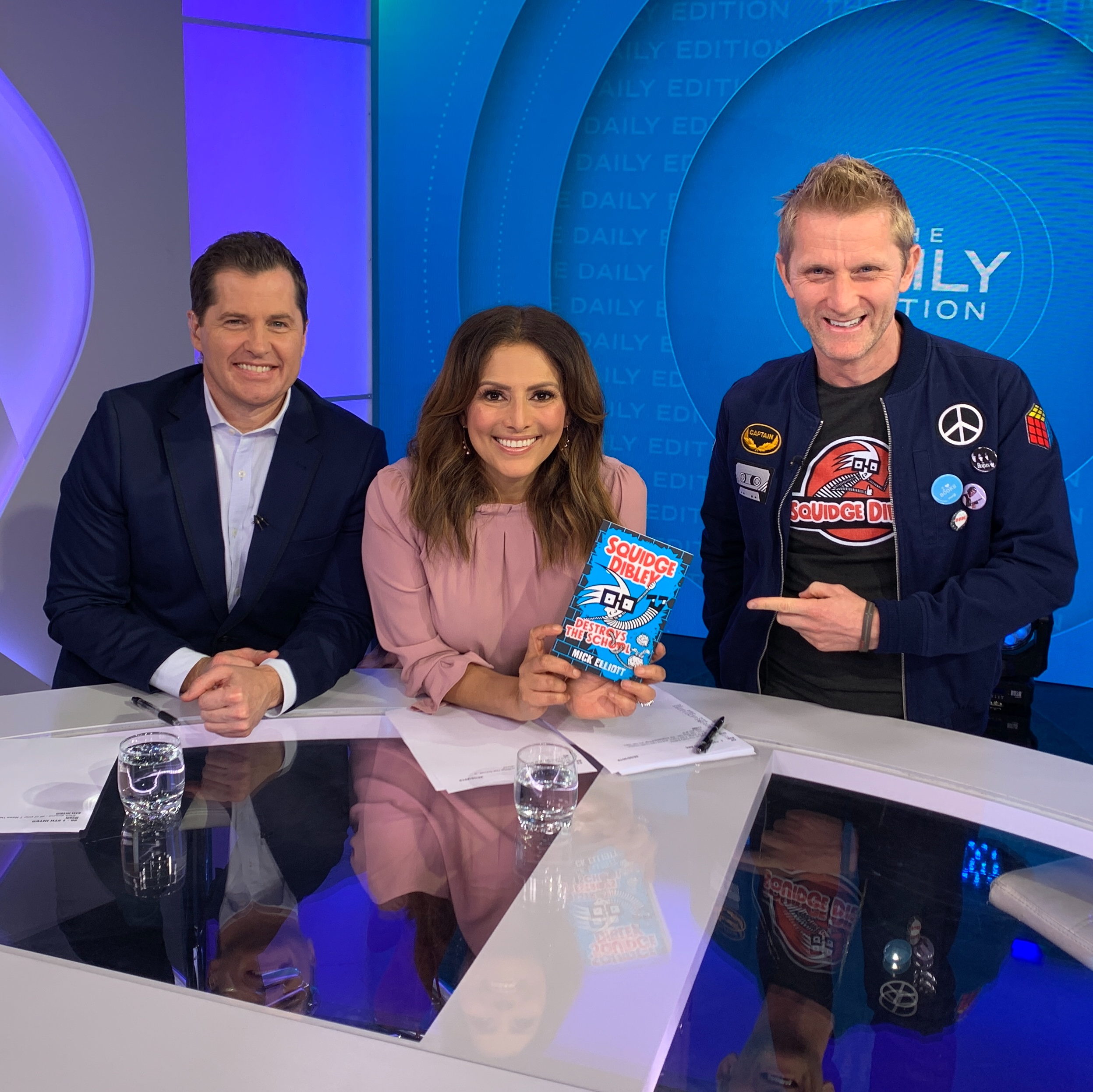 Mick on set on THE DAILY SHOW on channel 7 chatting about SQUIDGE DIBLEY DESTROYS THE SCHOOL.