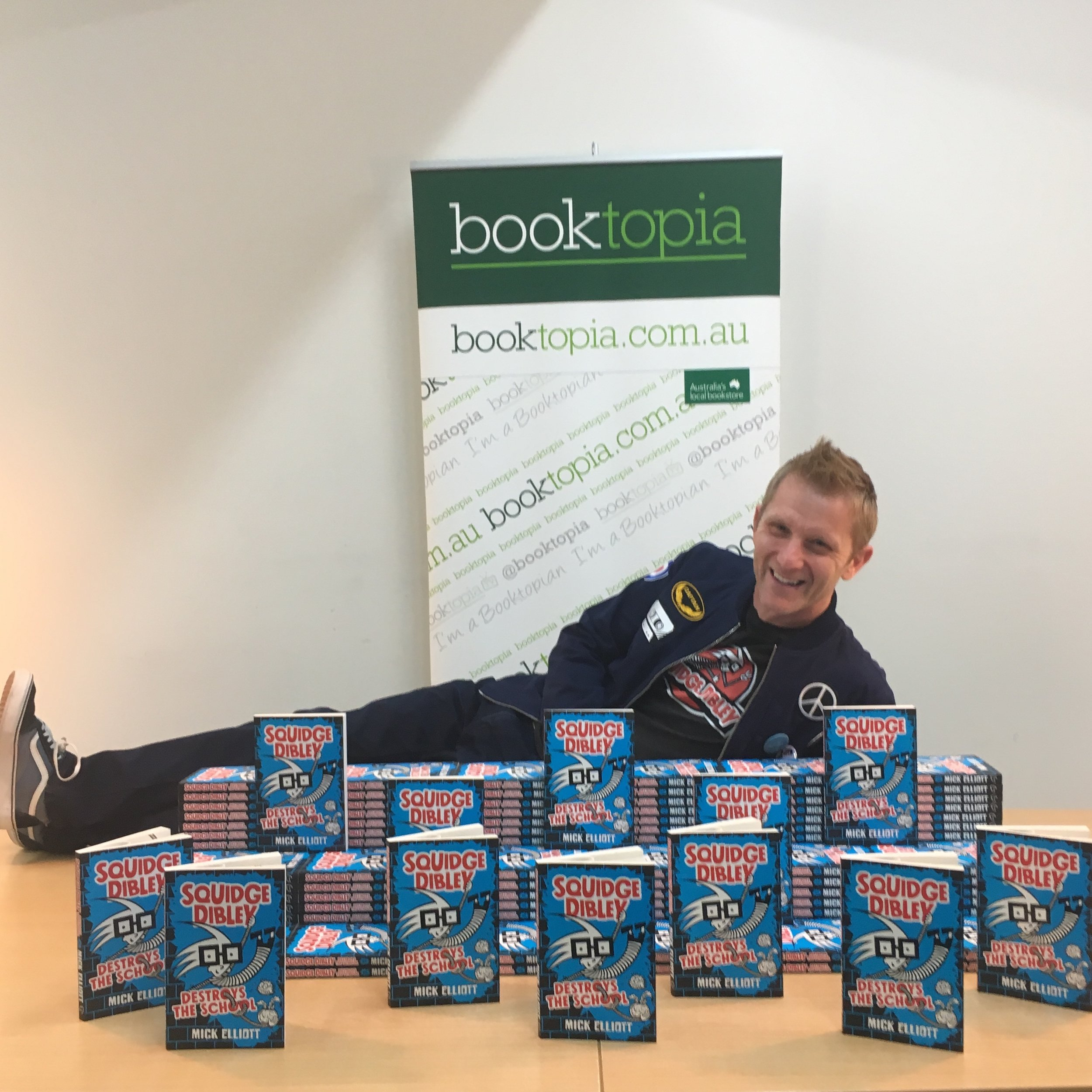 Mick at BOOKTOPIA for the release of the first book in the SQUIDGE DIBLEY series.