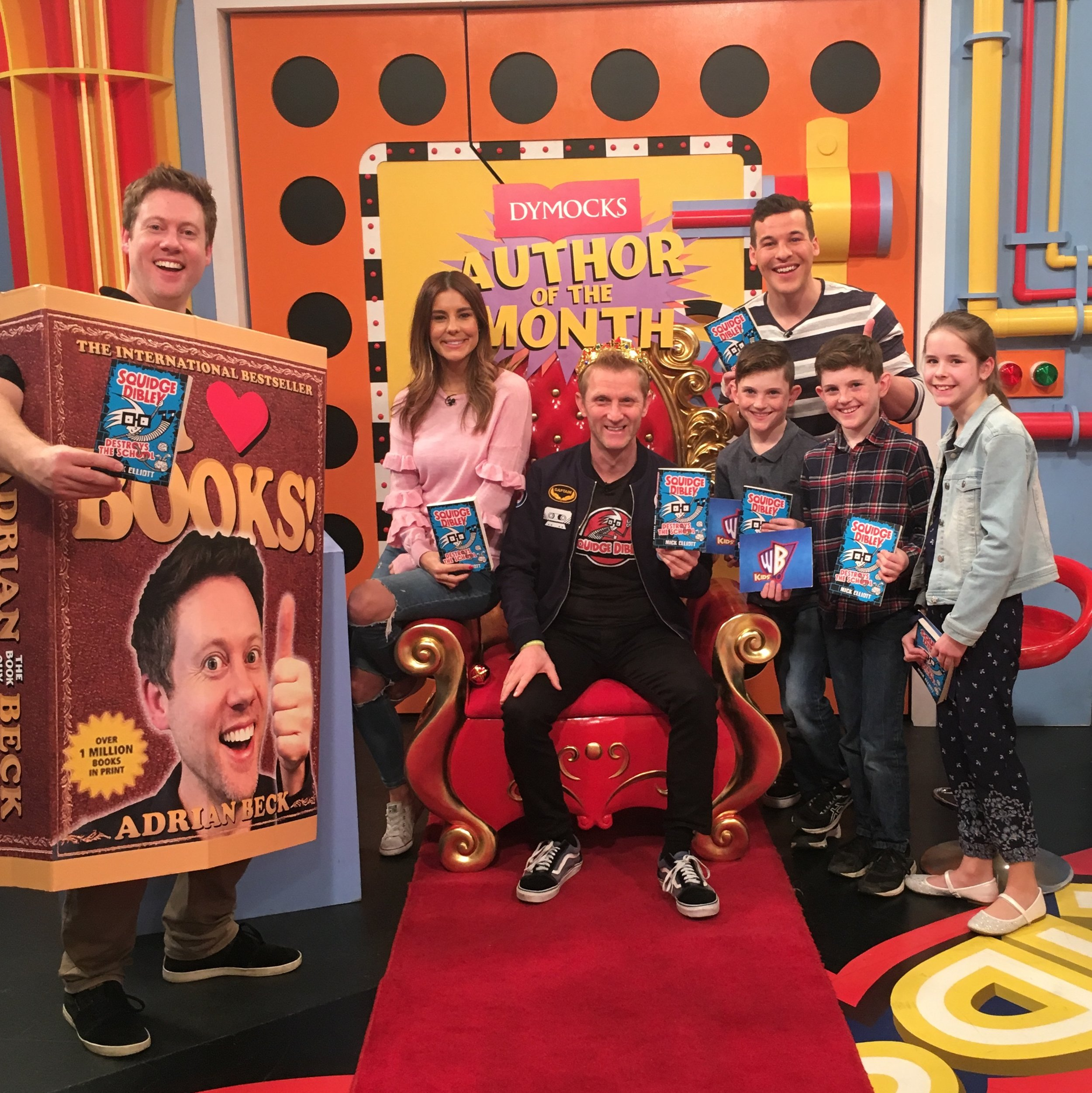 Mick on set at Channel 9 being crowned DYMOCKS AUTHOR OF THE MONTH on Kids WB with Adrian Beck.