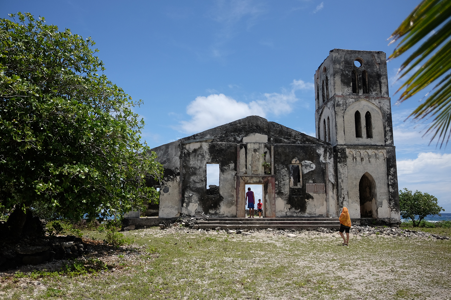 The church destroyed by the massive waves of Cyclone Ofa in 1990. With the village completely destroyed, the villagers swam to Falealupo Primary school to the north. The church remains a monument to the people of Falealupo.