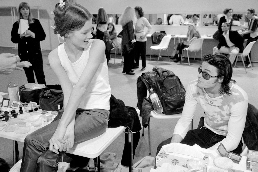 Kate Moss backstage at a Paris fashion show in 1991. Photo/ David Turnley