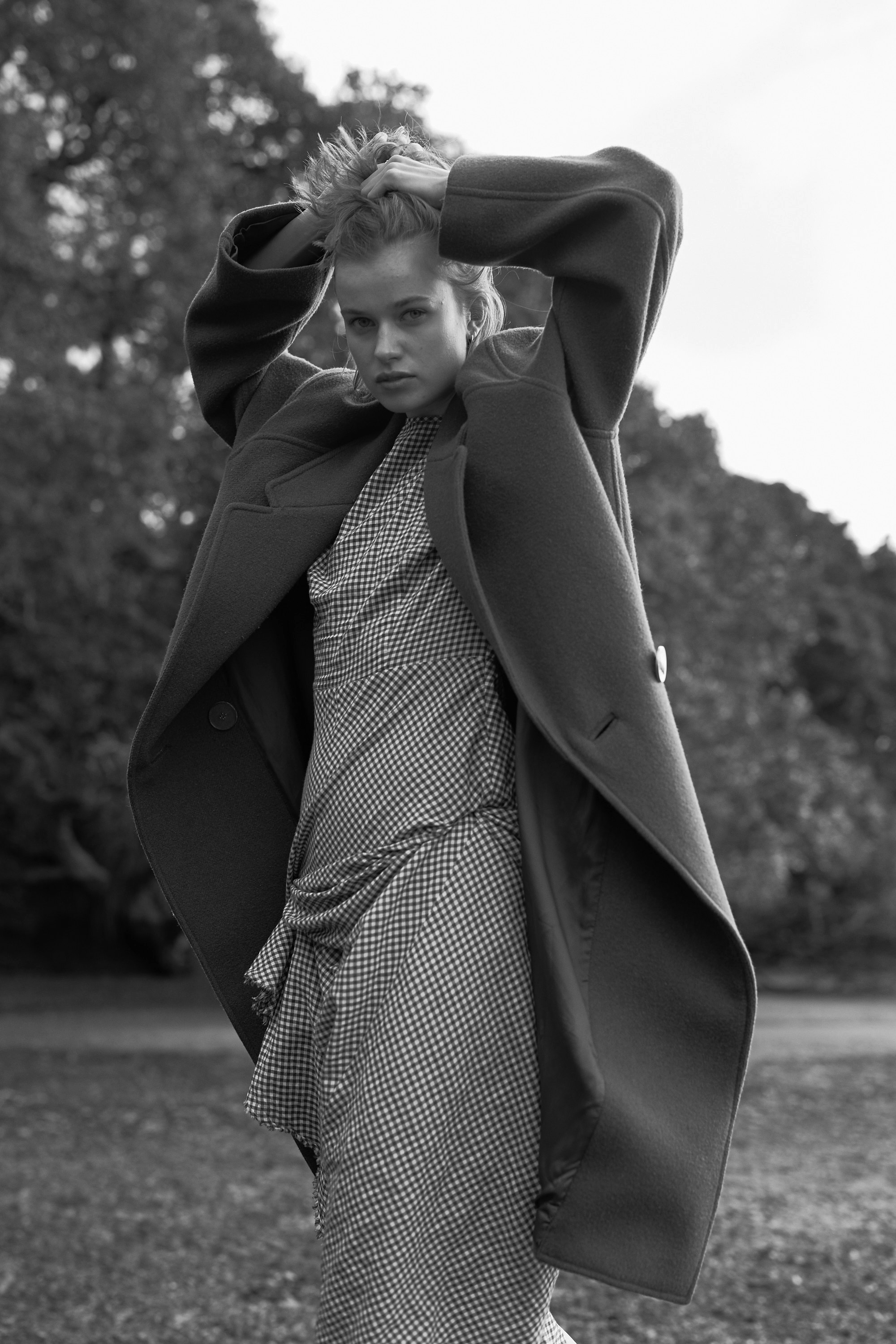Nikki @ N  wearing   coat and dress by  Penny Sage .. All Photos/ James K Lowe.