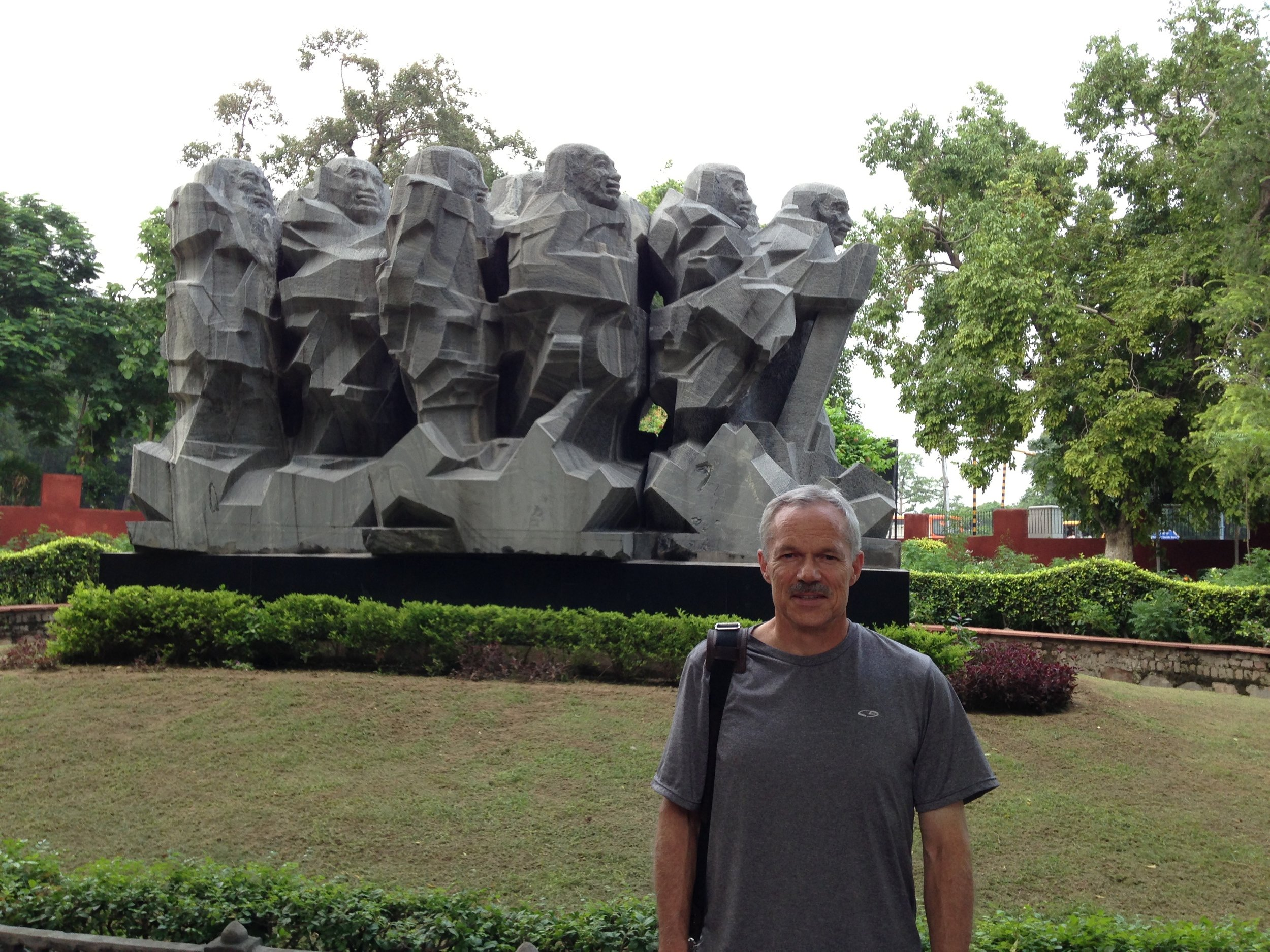 Here outside the Gandhi Museum in New Delhi.