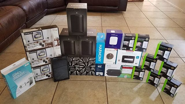 Just the beginning of our customer's new smart home setup. What powers your smart home? #sonosone #alexa #voicecontrol #smartthings #ge #zwave #skybell #harmony #rachio #firetablet #actiontiles #garagecontrol #smarthome #technology #techjunkiesaz