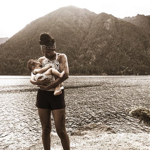 Jessie openly breastfeeding at Lake Cushman. July, 2017