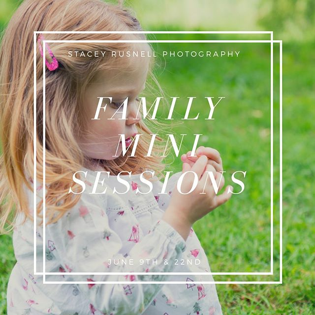 Hi everyone! I'm offering a limited number of Family Mini Sessions as a fundraiser. Visit my site to book your spot! www.staceyrusnell.com/mini-sessions