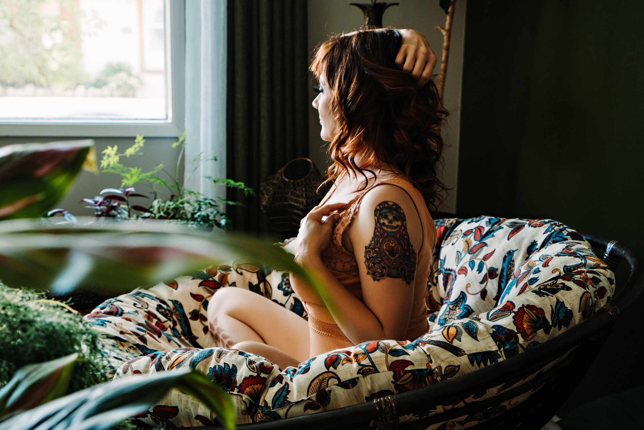Boudoir Photography, Shannon Smith, Calgary, Over 50 woman, Red Hair, pink bodysuit, black and white, tattoos,  henna, boudoir makeup