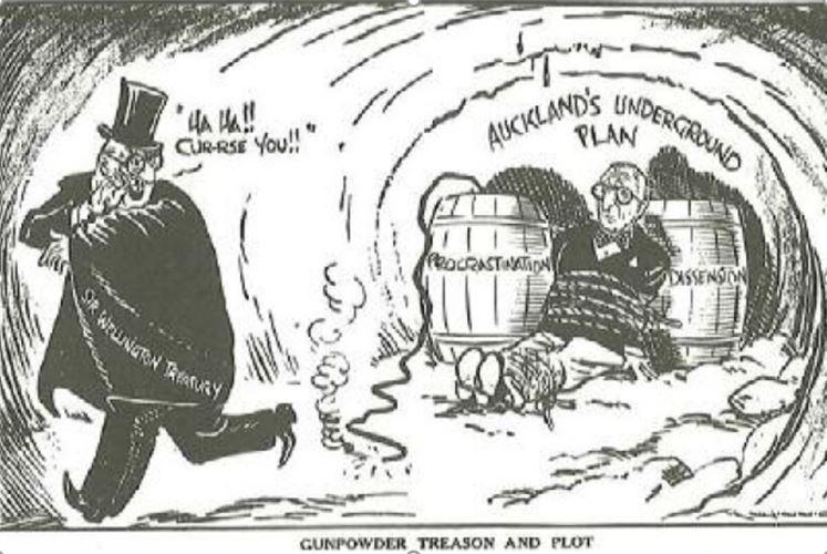 1975 'gunpowder treason and plot' cartoon illustrated by Gordon Minhinnick