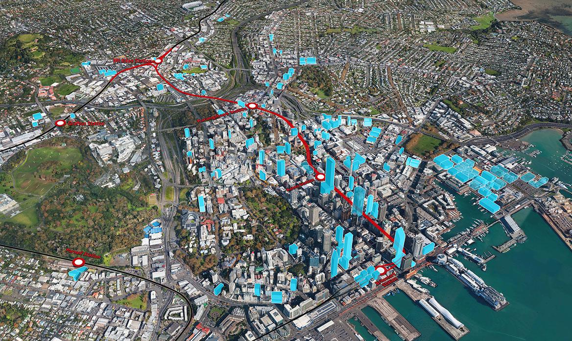 ROUTE: The City Rail Link designation from Britomart to Eden Terrace (Mt Eden)