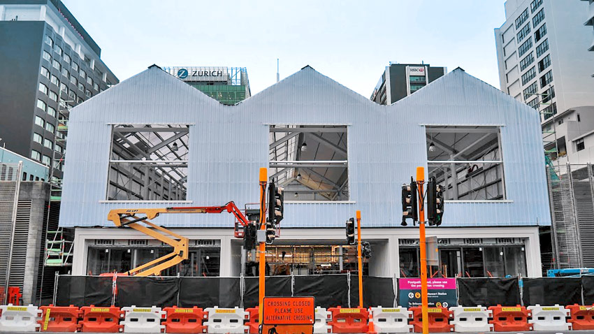 TEMPORARY: A temporary Britomart entrance was built with entrances at Commerce, Galway and Tyler Streets