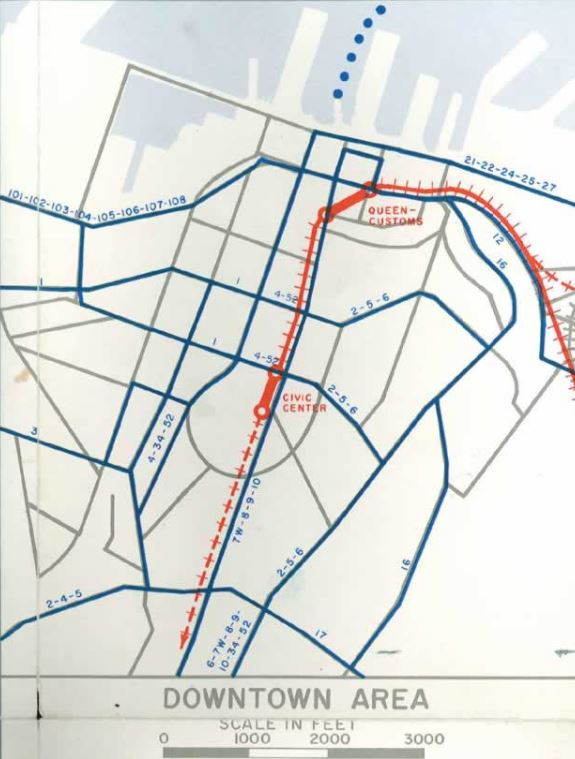 Map of proposed downtown Auckland rail network from the 1960's