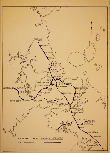 Robbie's proposed Rapid Rail network plan for Auckland in the 1960's