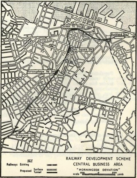 MID-50s: This drawing of a Morningside deviation appeared in the Auckland Regional Planning Authority Master Transportation Plan