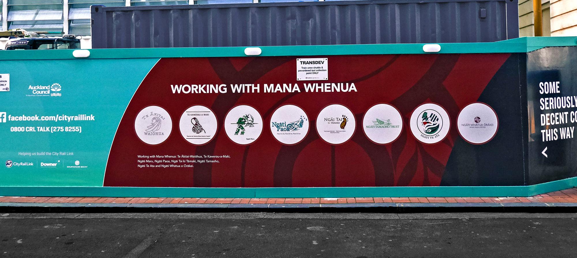 Mana Whenua logos displayed on CRL construction hoardings