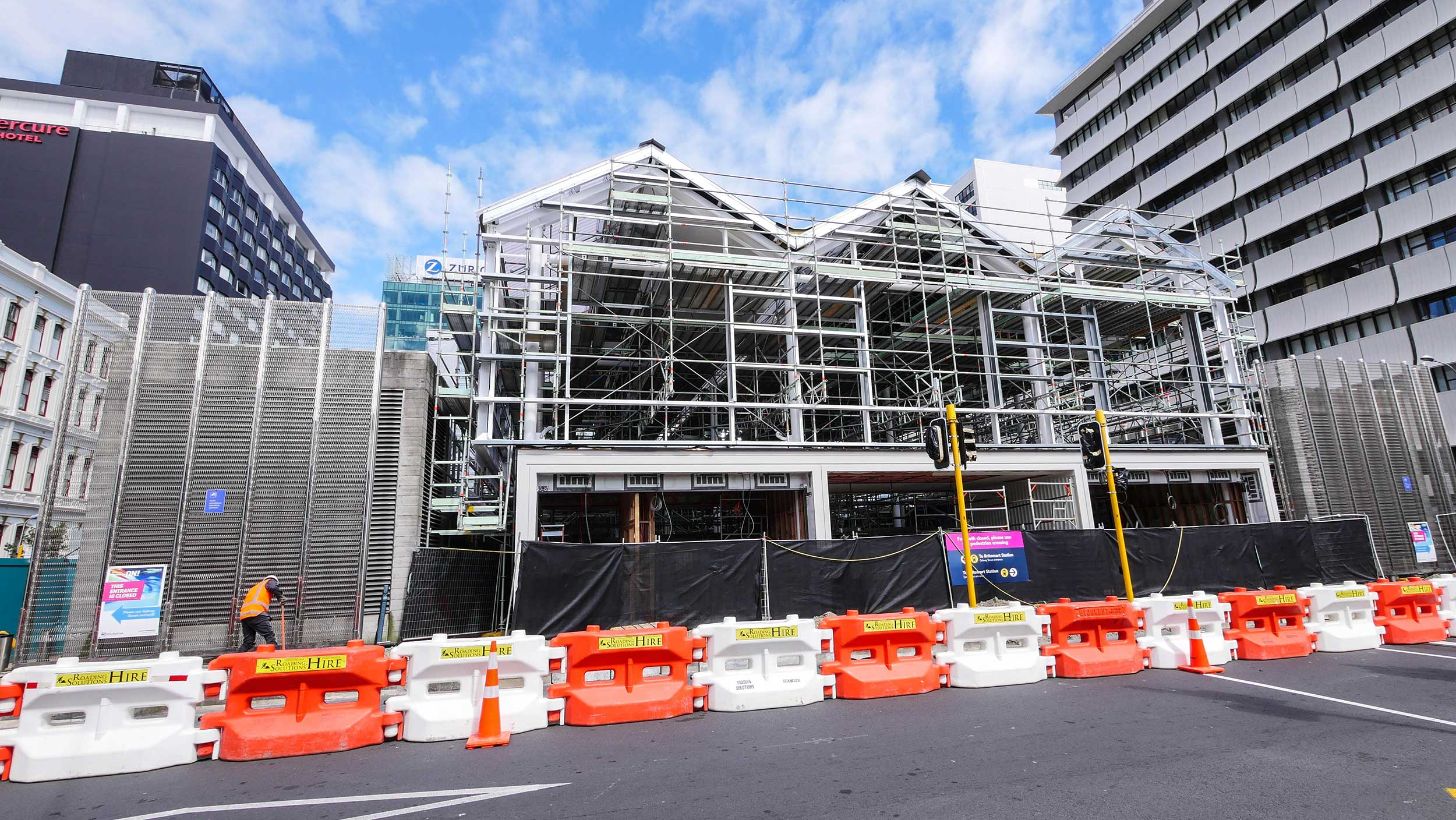 Temporary entrance for the Britomart train station