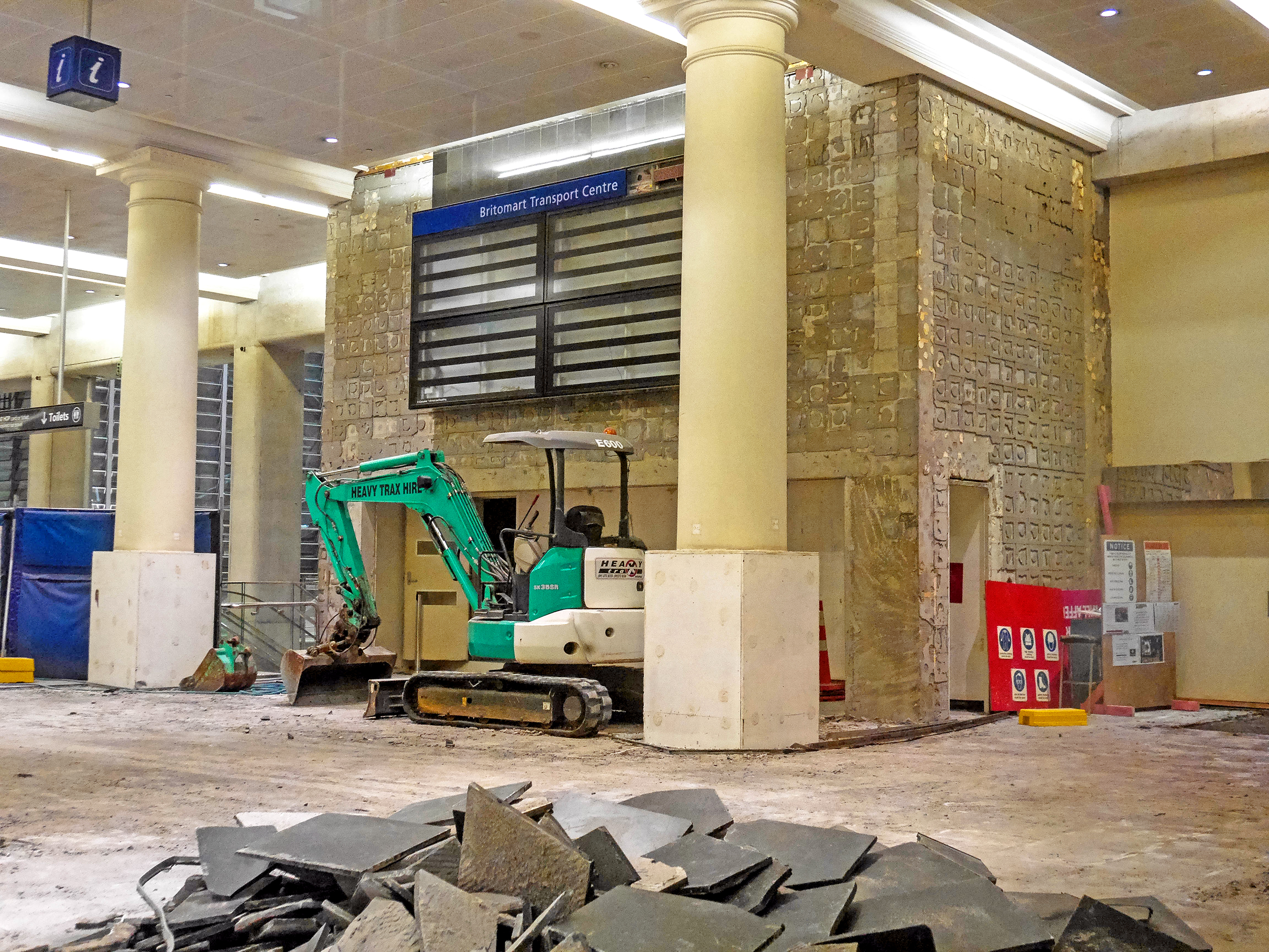 Dismantling the former Britomart train station foyer off Queen Street