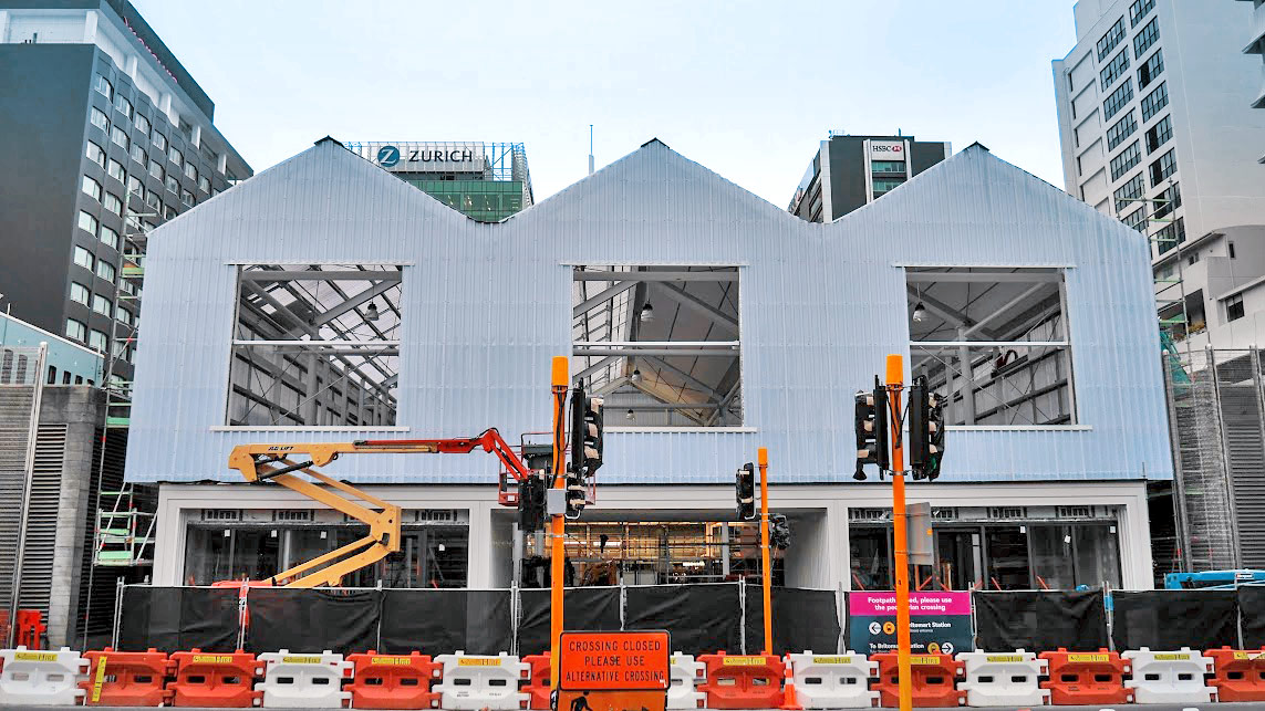 The temporary Britomart train station entrance