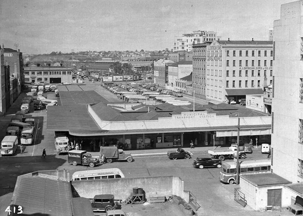 BRITOMART: The Britomart downtown area in the 1940s dominated by the bus terminal (Photo: Sir George Grey Special Collections, Auckland Libraries, 580-507)
