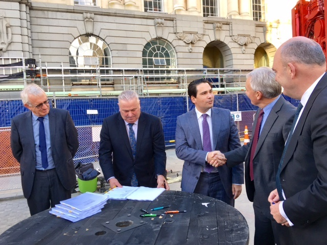 HISTORIC: At a ceremony to formalise the partnership, CRL Project Director Chris Meale, Auckland Deputy Mayor Bill Cashmore, Transport Minister Simon Bridges, Mayor Phil Goff and Finance Minister Steven Joyce