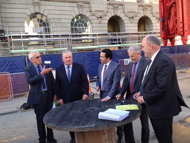 SIGNING: CRL Project Director Chris Meale (left) discusses the project with Auckland's Deputy Mayor Bill Cashmore, Transport Minister Simon Bridges, Auckland Mayor Phil Goff and Finance Minister Steven Joyce at the construction site ceremony marking the signing of the CRL Ltd agreements