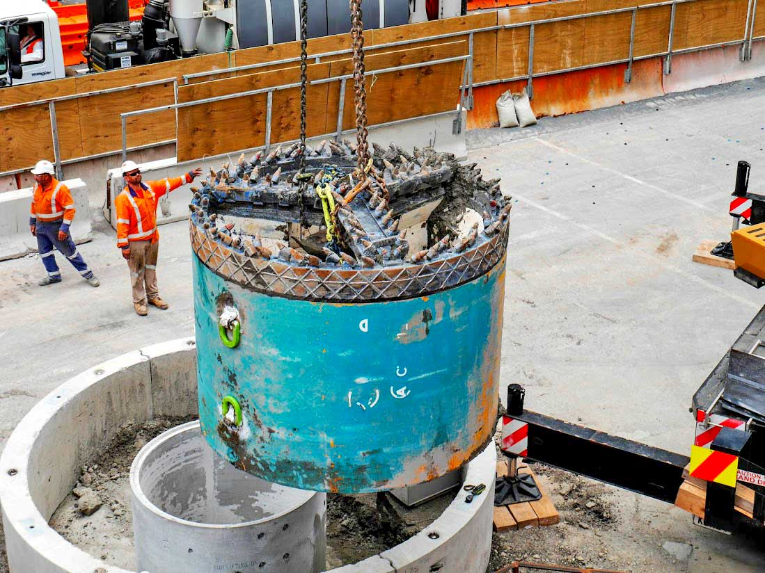 The 2m-wide tunnel boring machine, named Valerie in honour of the strength of Olympian Valerie Adams, simultaneously excavated and installed a new stormwater pipe under Albert Street.
