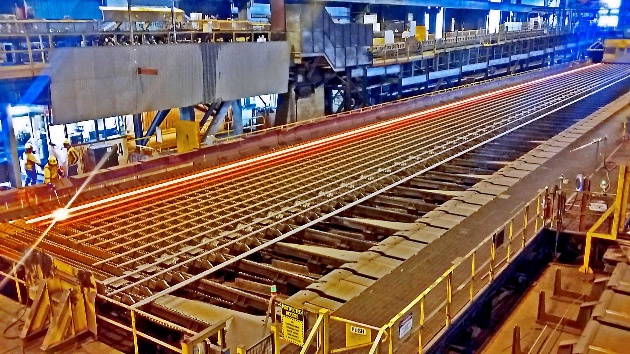 PRODUCTION: The bars being produced at Pacific Steel