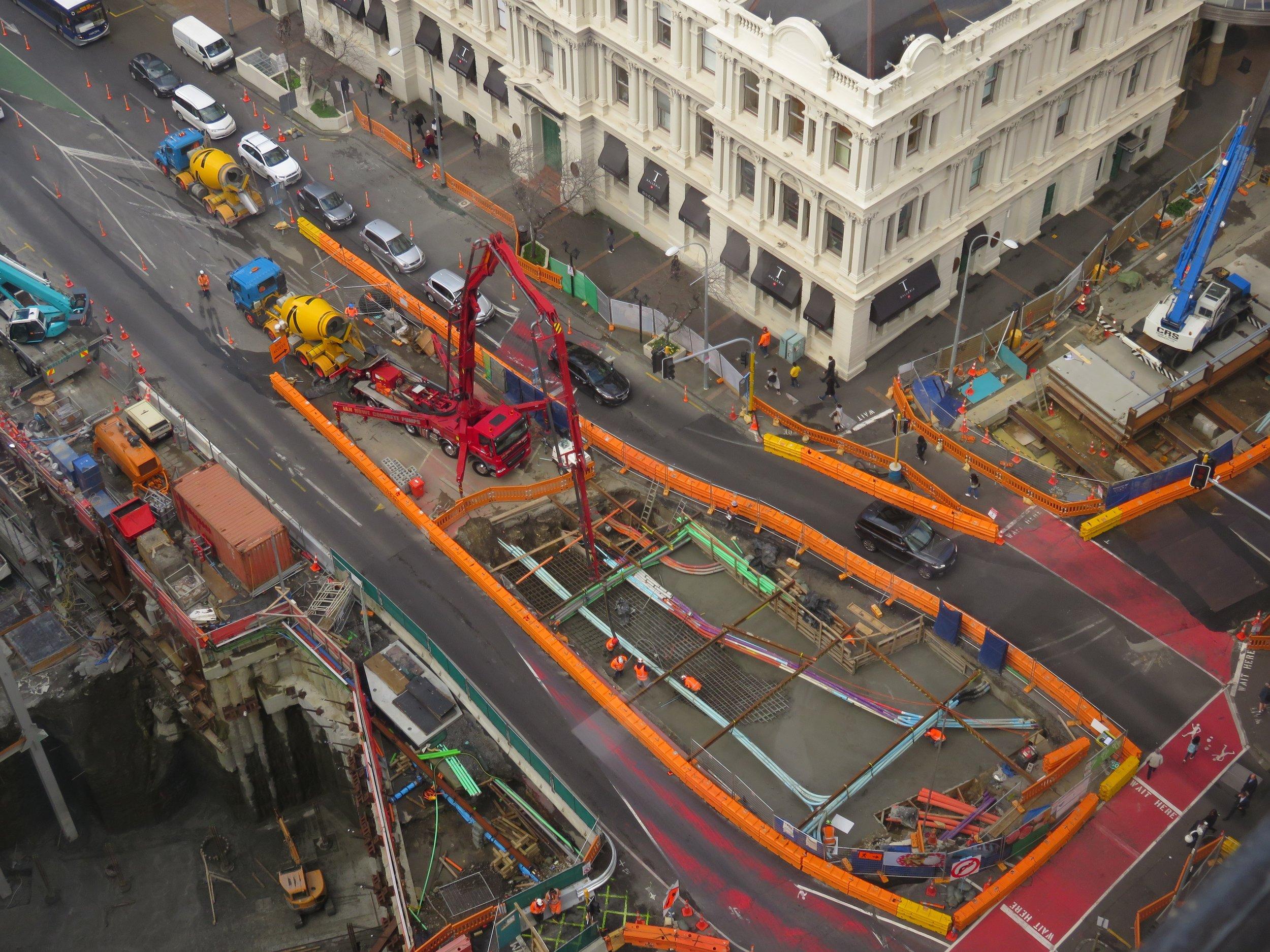 CRL construction Albert Street bear the corner of Customs Street West