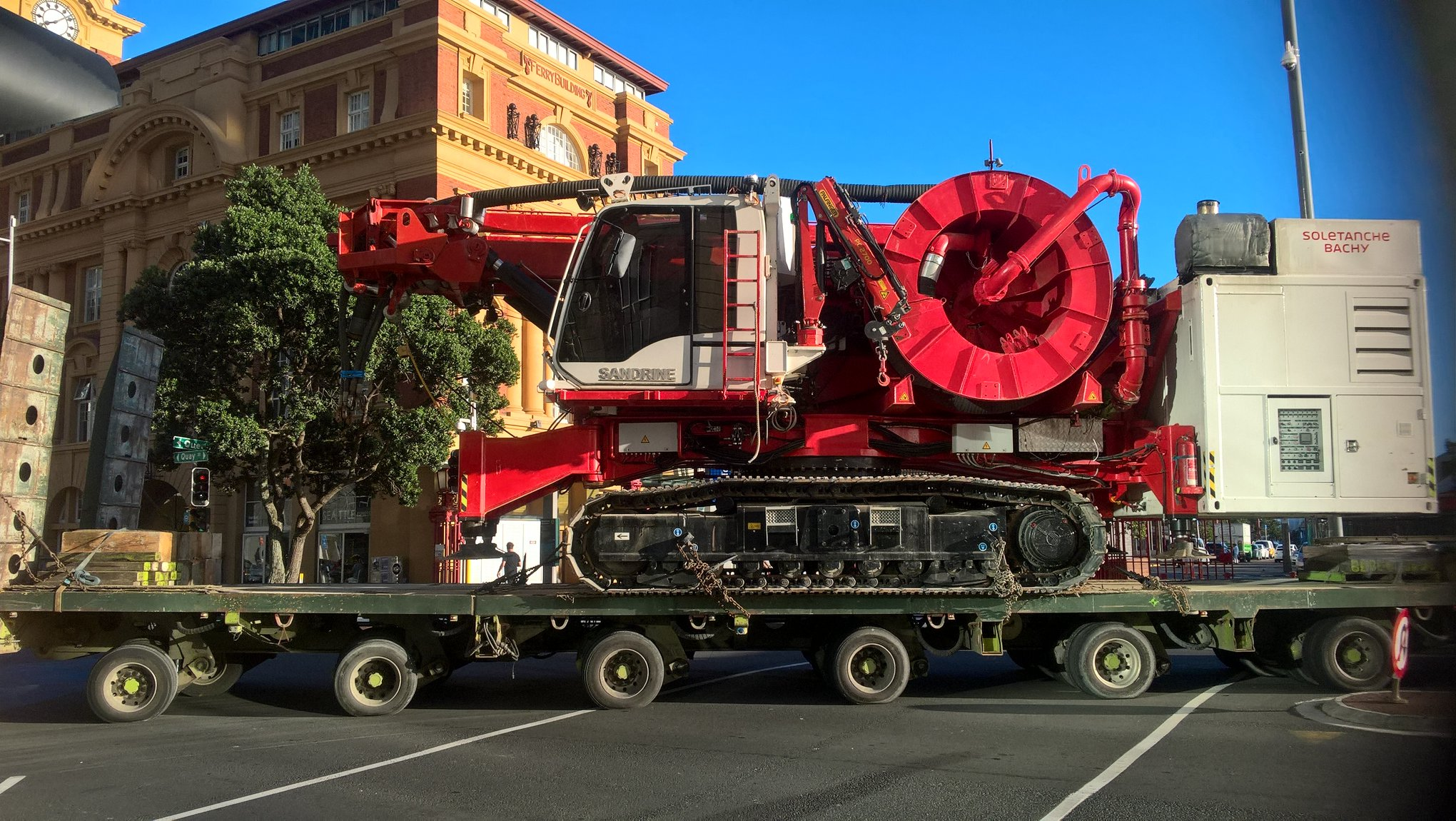 Sandrine leaves on the back of a truck after completing her work around CPO in Britomart