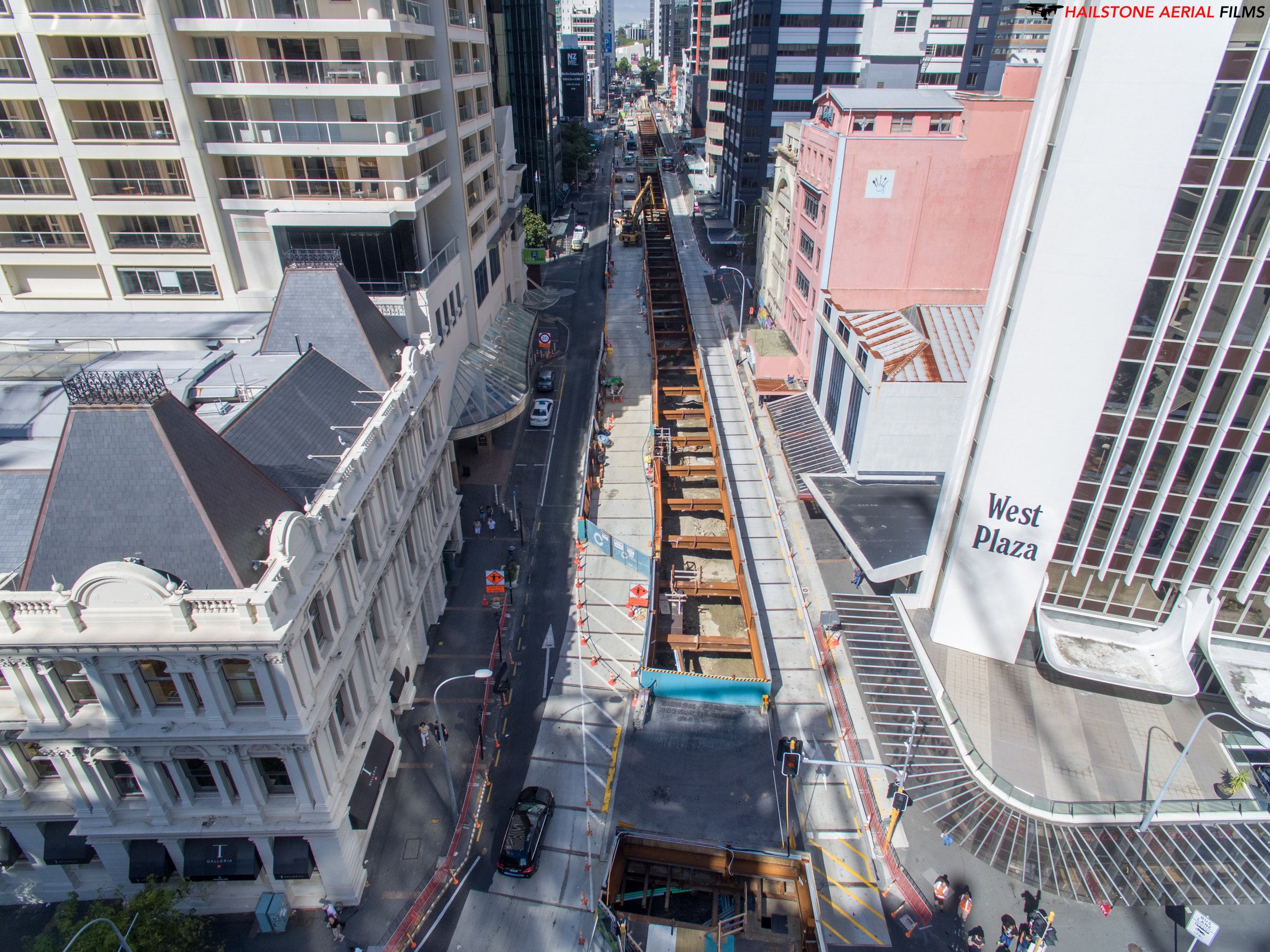 Drone shot of Albert Street construction