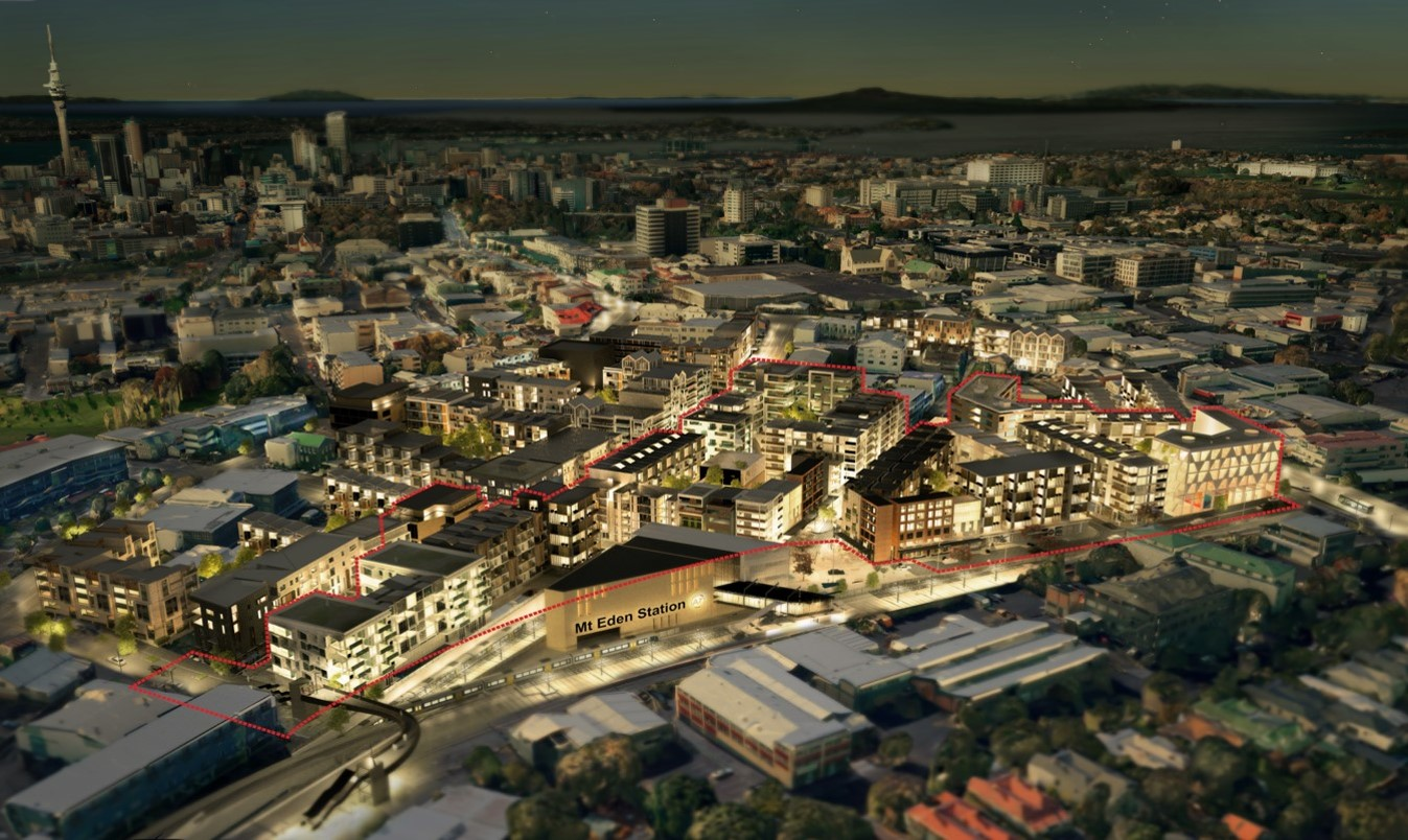Concept design for what high density residential and commercial development may look like around the Mt Eden station
