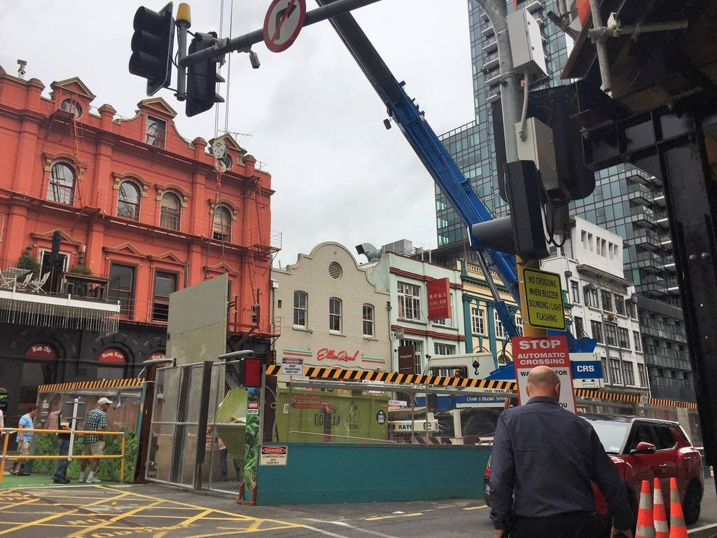 Public overlooking the CRL tunnel box construction site from the pedestrian bridge on Albert Street 13 April 2018