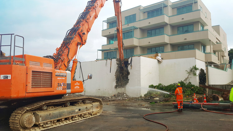 Demolition of an apartment block was needed for CRL's C6 Mt Eden works began
