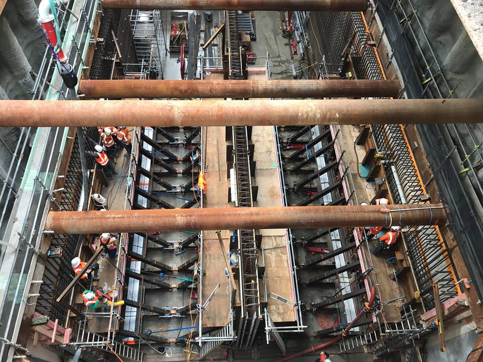 Aerial view of Albert Street tunnel box with workers pouring first 12 metres of outer walls.