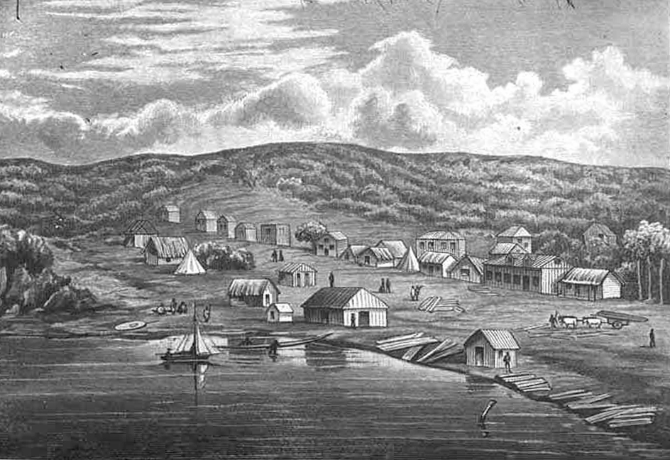 EARLY DAYS: Commercial Bay and Shortland Street in 1841 (Image: Sir George Grey Special Collections, Auckland Libraries, 4-9089)