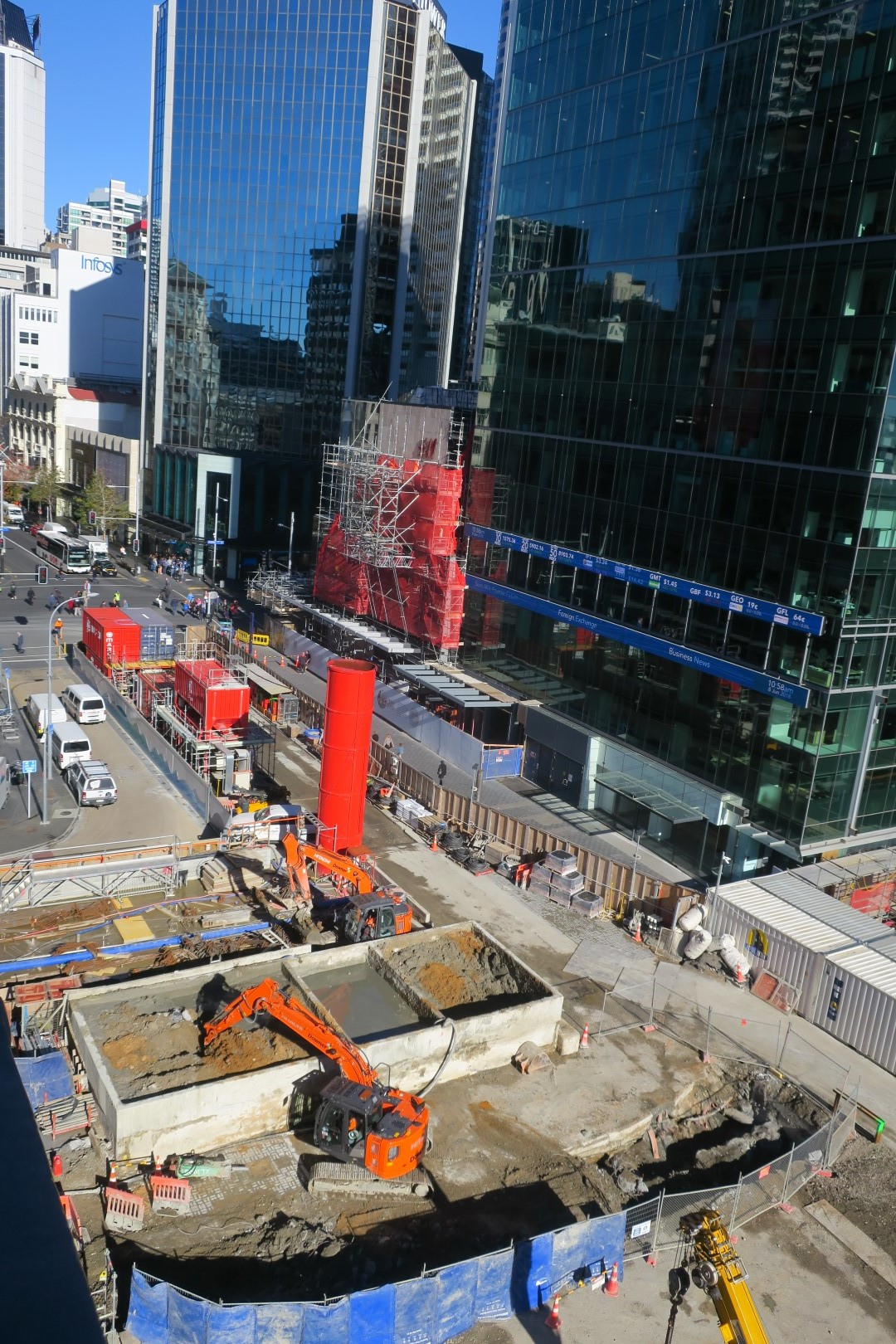 Aerial view of excavations outside Britomart on Lower Queen Street Auckland for a pile cap on the new secant piles, 11 June 2018