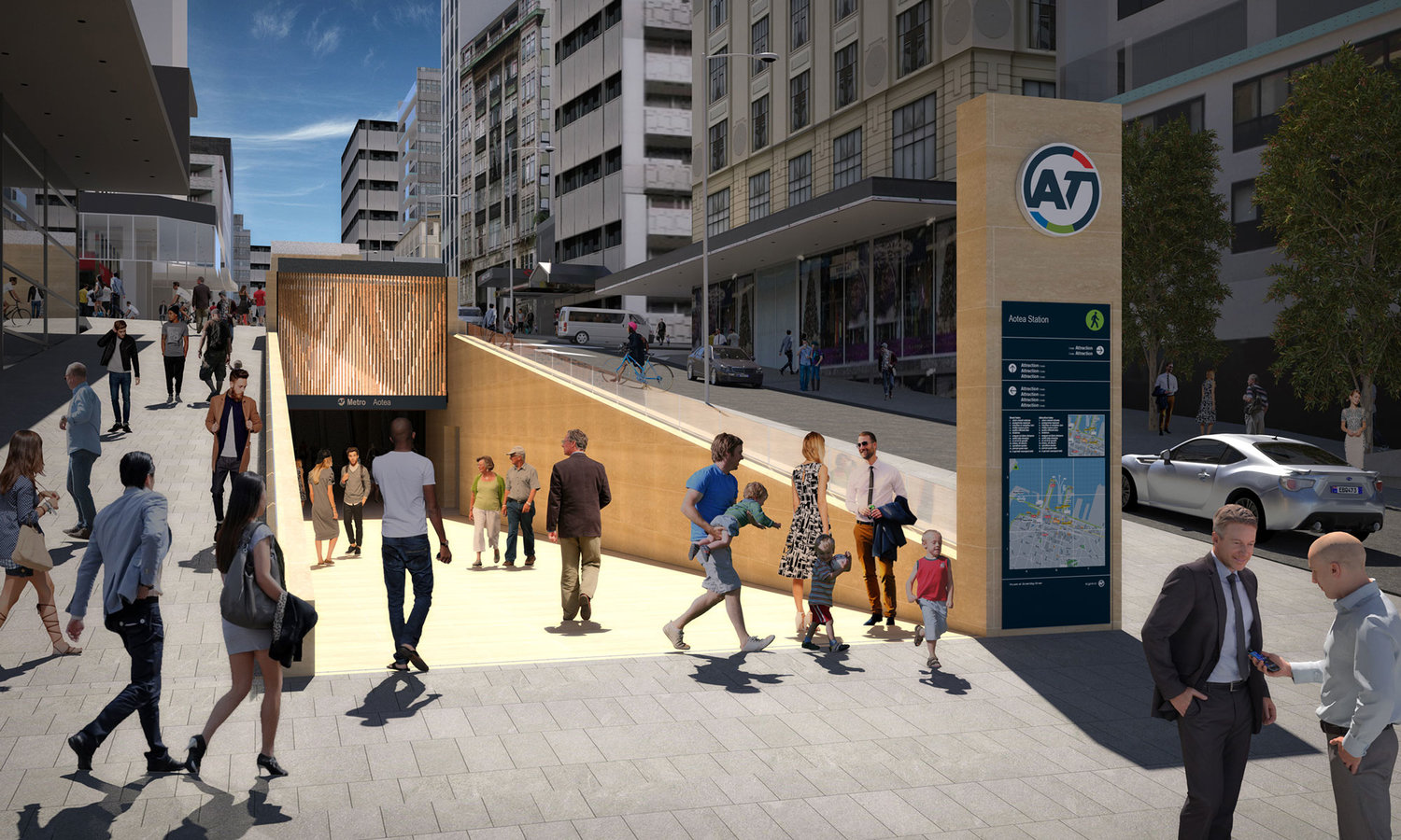 Render of Aotea City Rail Link Train Station from Victoria Street Auckland
