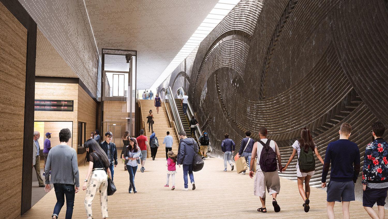 Render of proposed Mt Eden station interior basalt wall