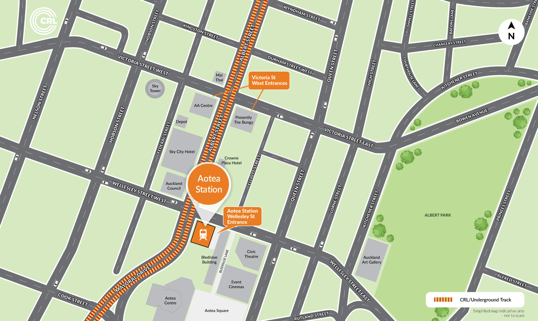 Map showing location of Aotea Station and surrounds