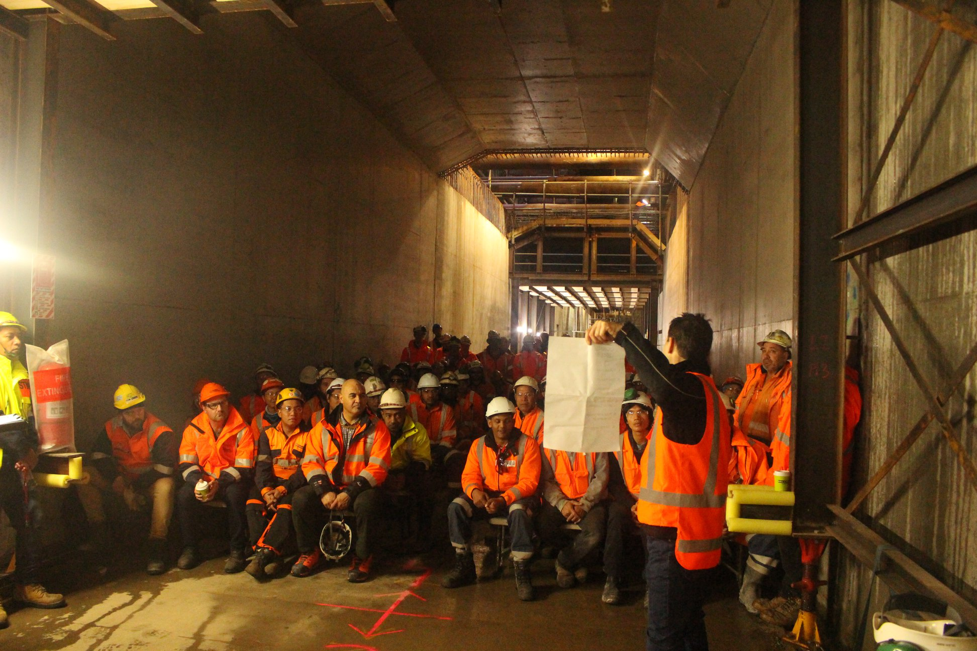 Team briefing inside the Albert Street trench May 2018
