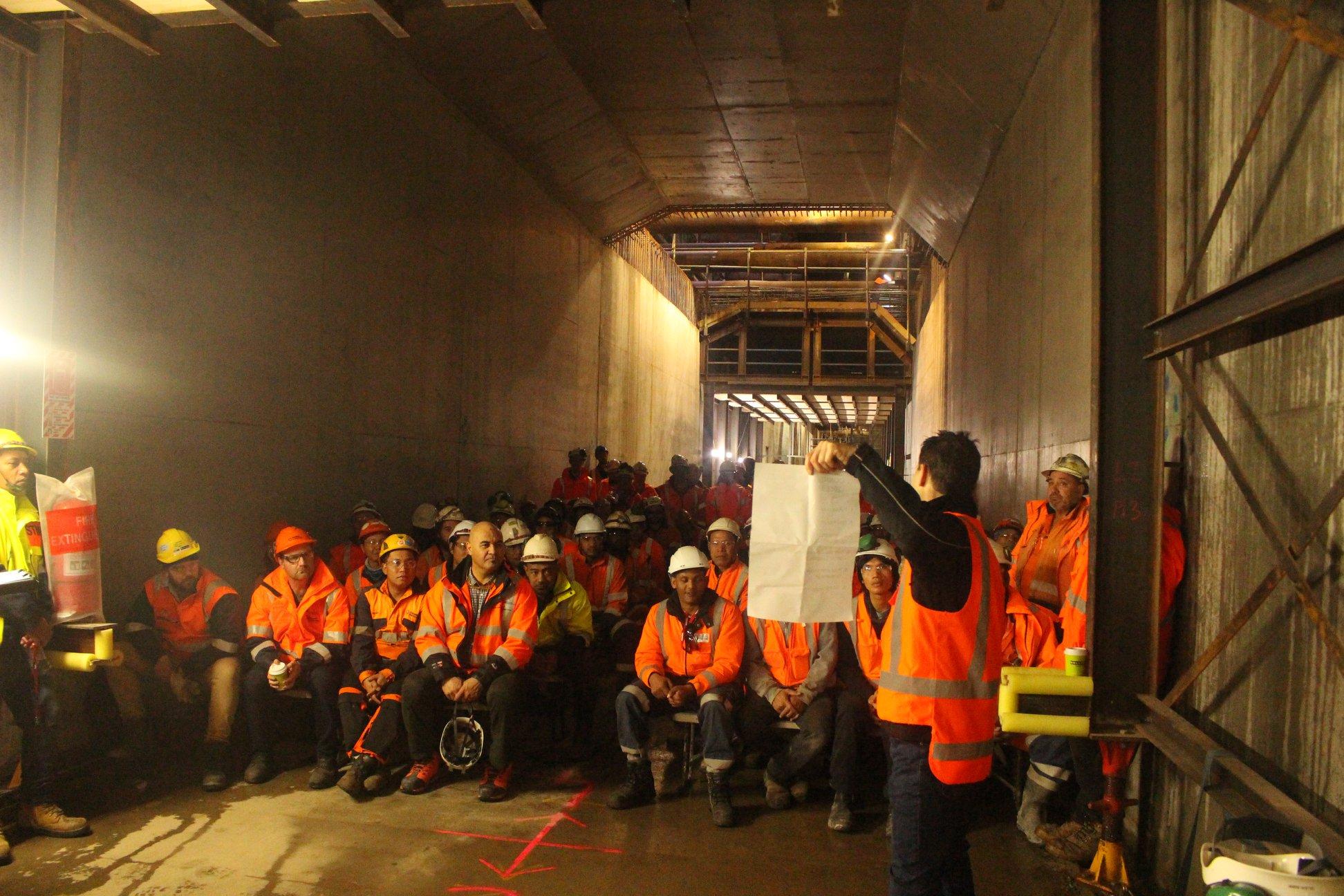 CRL construction team briefing Albert Street trench