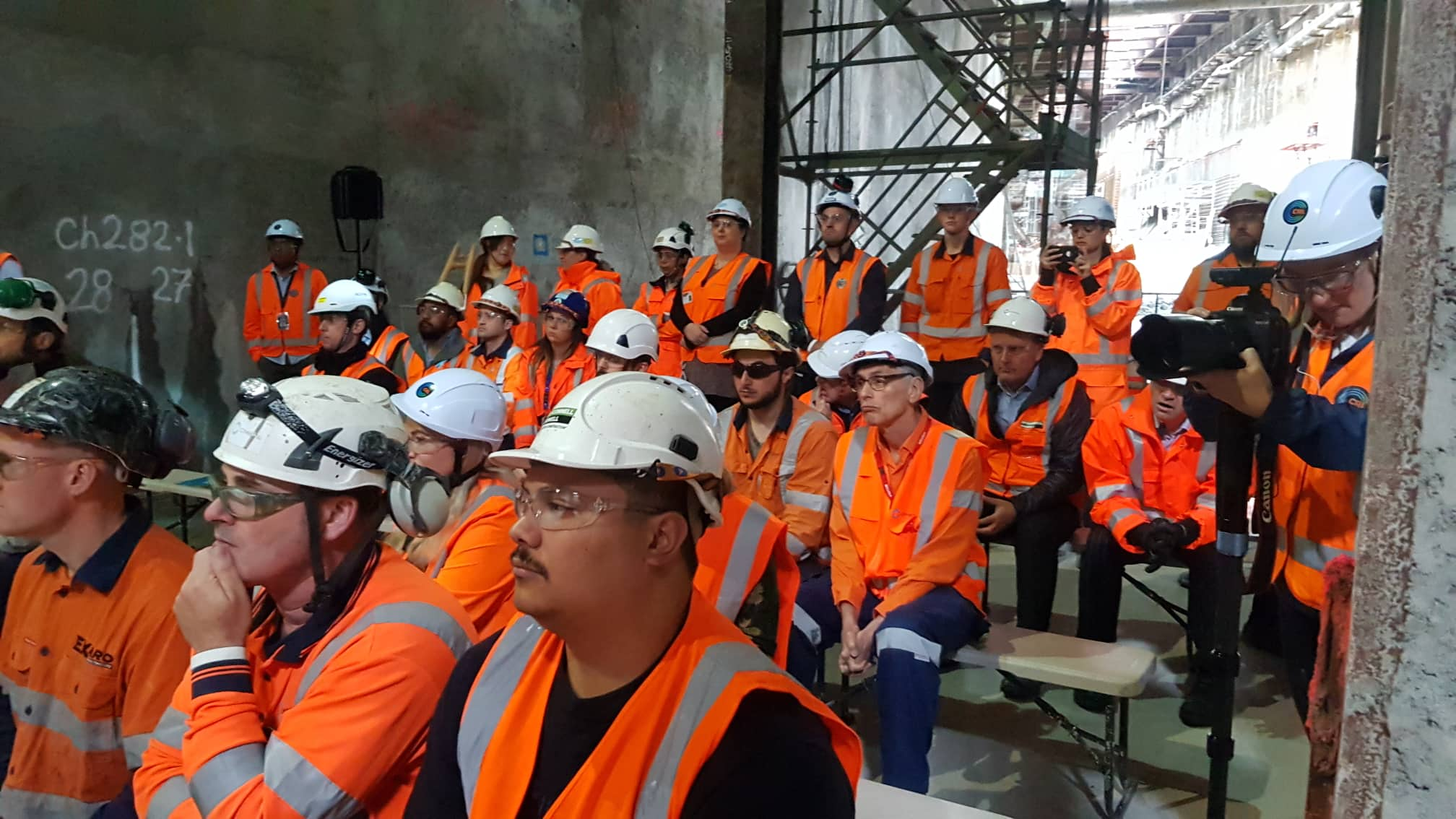 Celebrating a major milestone  with the breakthrough to the Commercial Bay development site from the Albert Street trench tunnels. Those working on the project at the ceremony. December 6 2018