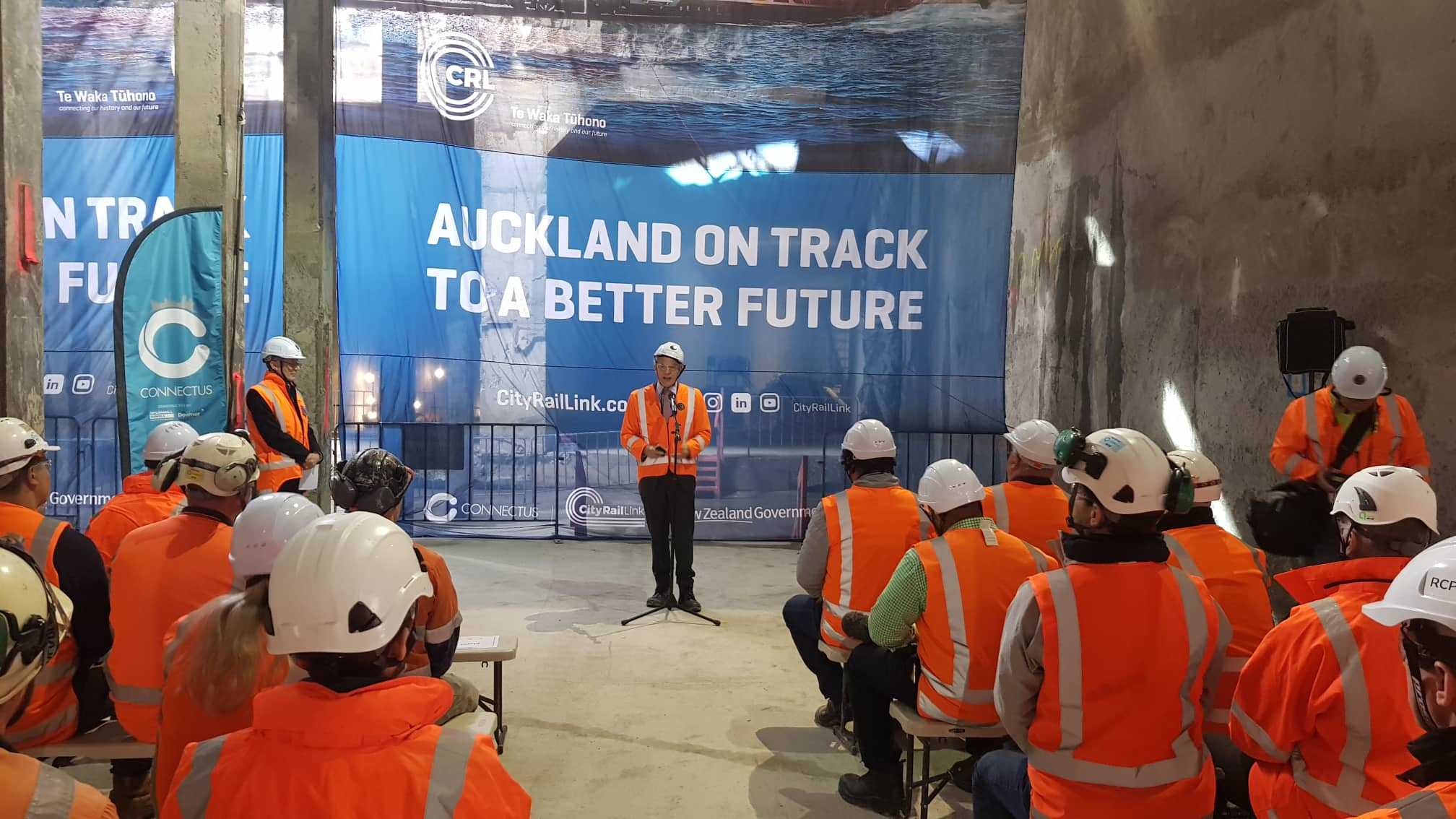 The  breakthrough to the Commercial Bay development site from the Albert Street trench tunnels – in downtown Auckland. 6 December 2018