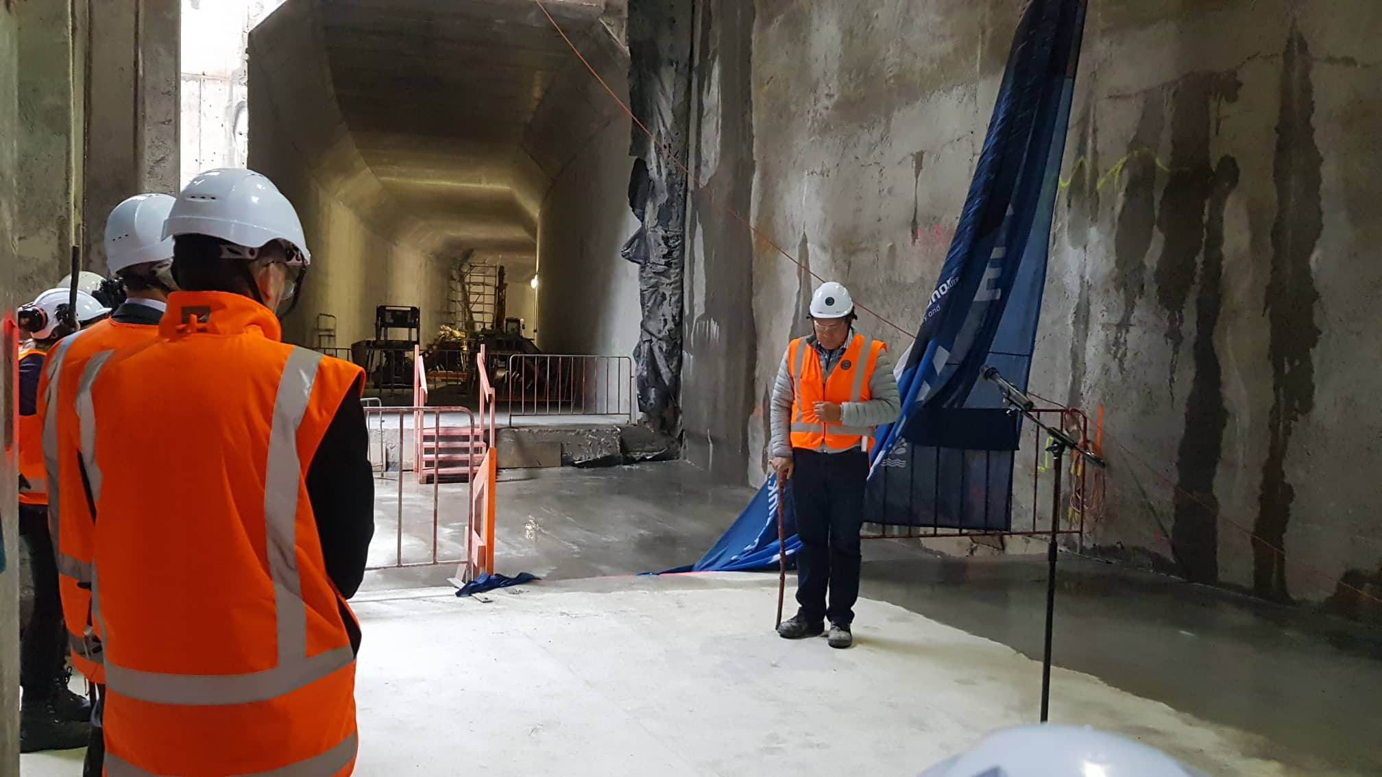 The breakthrough to the Commercial Bay development site from the Albert Street trench tunnels – in downtown Auckland. 6 December 2018. Hero Potini performed the blessing .