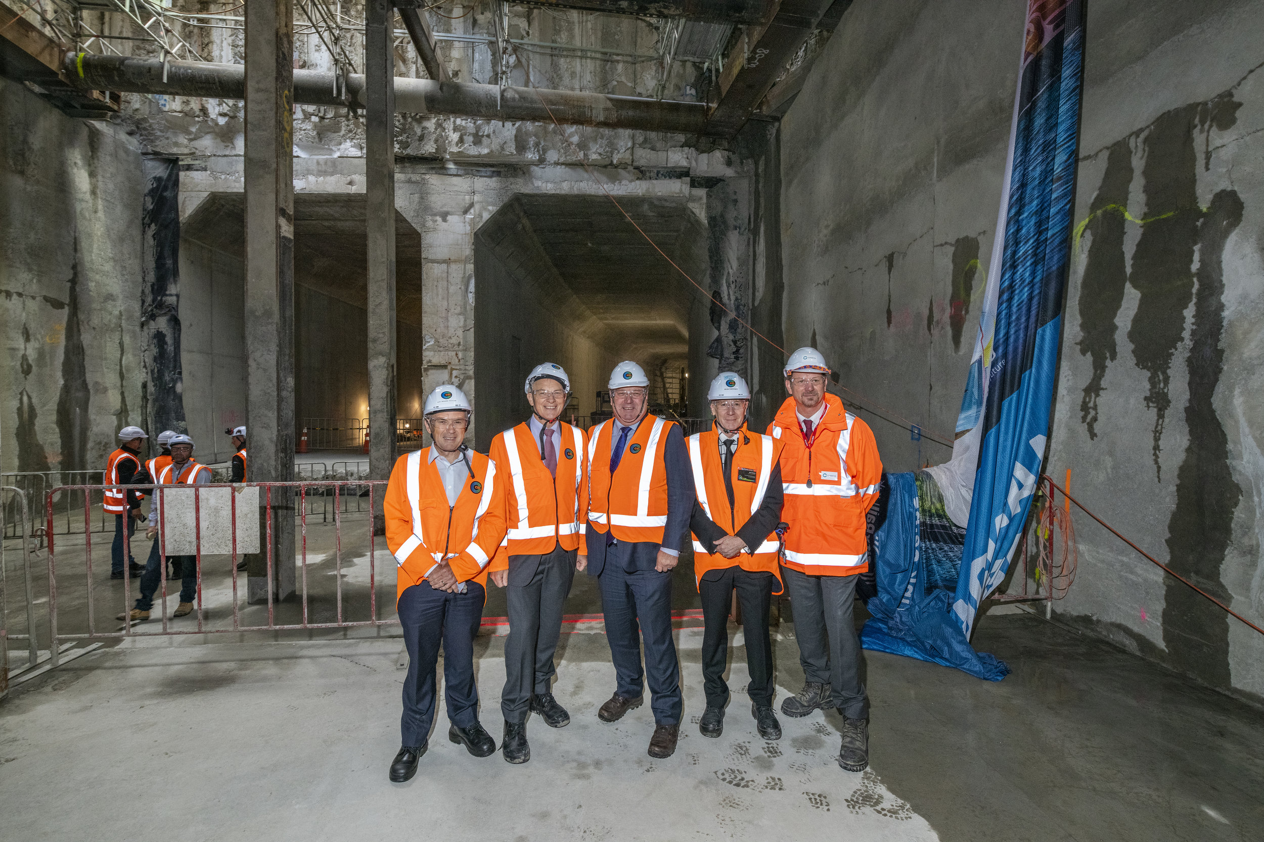 EVENT: From left - City Rail Link Chair Sir Brian Roche, Auckland Mayor Phil Goff, Deputy Auckland Mayor Bill Cashmore, CRL CEO Dr Sean Sweeney and Executive General Manager Infrastructure Projects Downer New Zealand John Burden