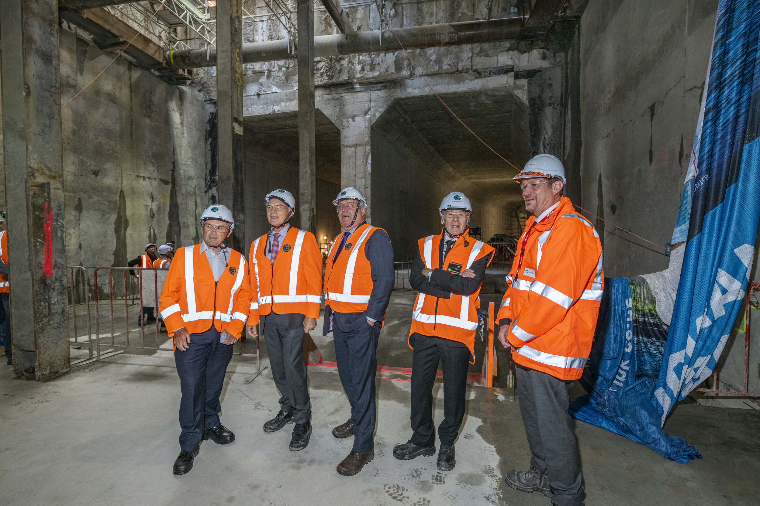 EVENT: From left - City Rail Link Chair Sir Brian Roche, Auckland Mayor Phil Goff, Deputy Auckland Mayor Bill Cashmore, CRL CEO Dr Sweeney and Executive General Manager Infrastructure Projects Downer New Zealand John Burden
