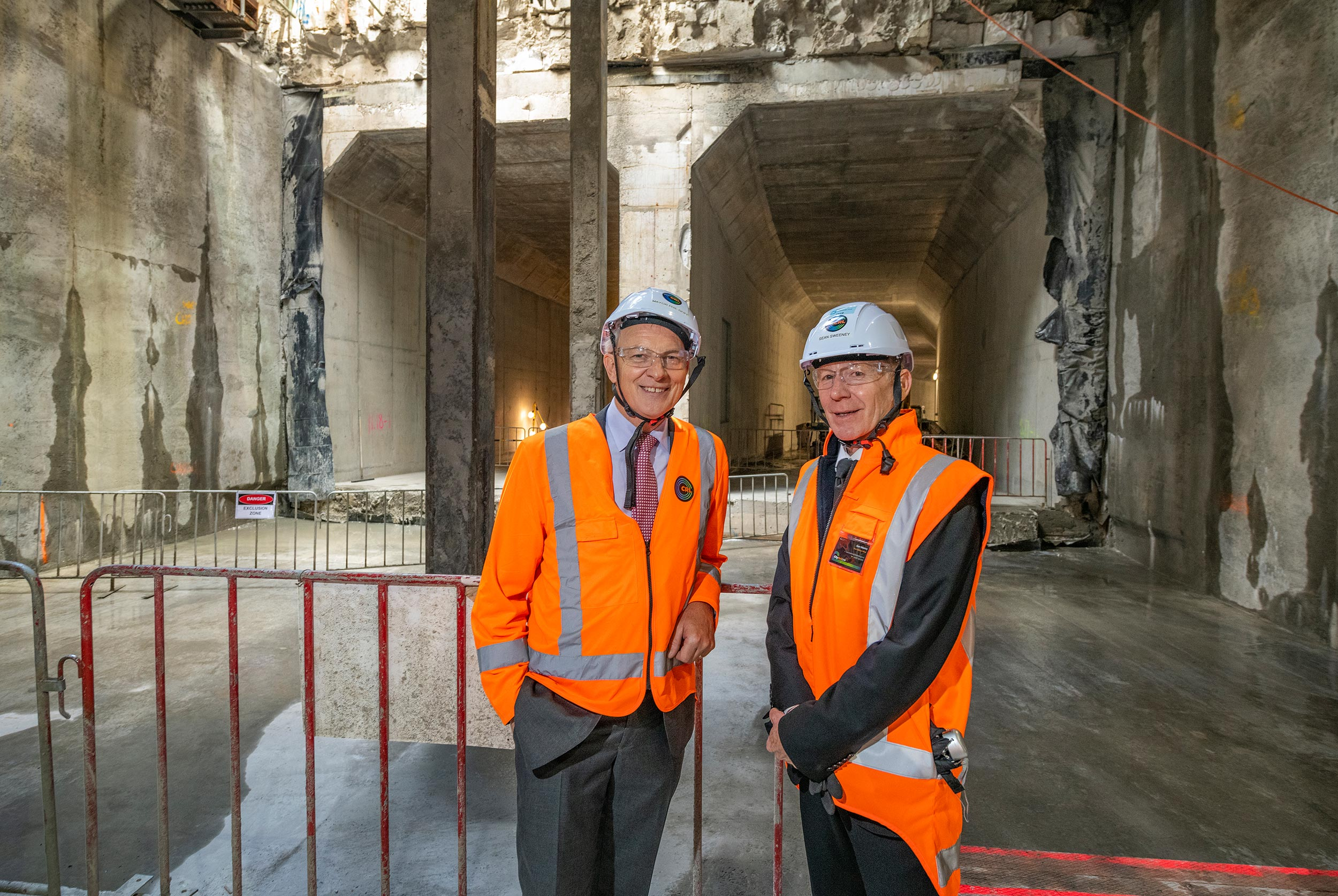 Auckland Mayor Phil Goff and CRL CEO Dr Sean Sweeney at the CRL milestone breakthrough to the Commercial Bay development site from the Albert Street trench tunnels – in downtown Auckland. 5 December 2018.