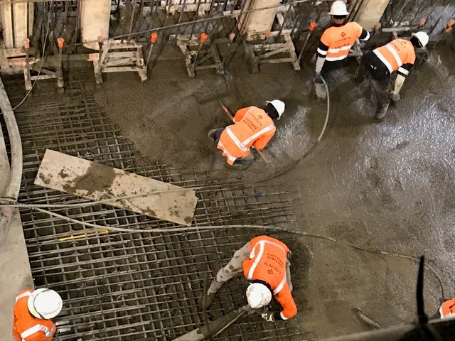 Albert St- the last pour for the floor of the tunnel box    28 Feb 2019
