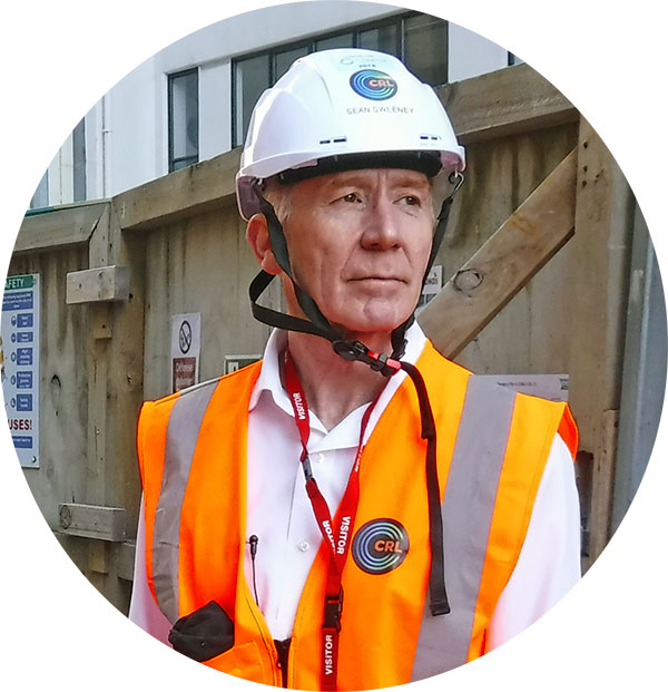 Sean Sweeney CRL CEO at Britomart construction area in safety gear 6 March 2019