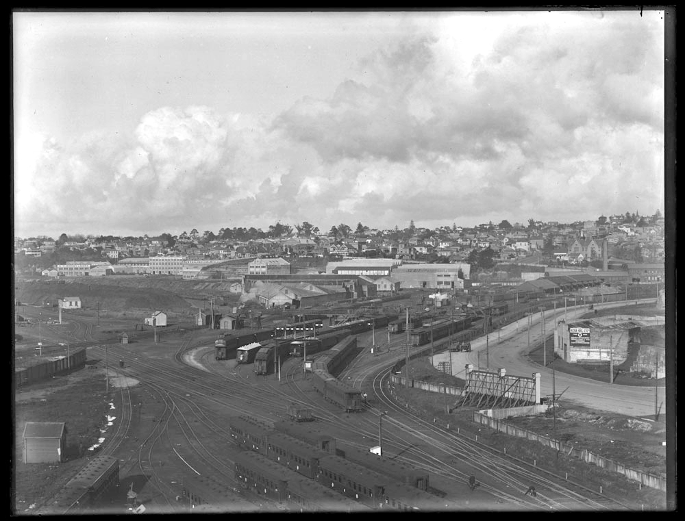 1921: Looking east over the Auckland railway yard, towards Parnell (background)...